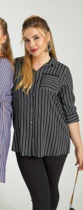 Femina Çizgili Ve Cep Detaylı Yarım Kol Büyük Beden Gömlek 40034 Lacivert Siyah