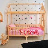 Montessori Yatak Çocuk 90X190 Karyola Bebek Beşik Oyun Alanı-3