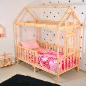 Montessori Yatak Çocuk 90X190 Karyola Bebek Beşik Oyun Alanı-5