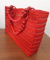 No 1 Kanvas üzeri el işleme bayan çanta ( Kırmızı )-2