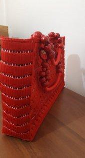 No 1 Kanvas üzeri el işleme bayan çanta ( Kırmızı )-4