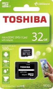 TOSHIBA 32GB SDHC 100MB/s Class 10 UHS-I Micro SD Kart THN-M203K0320EA