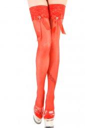 Kırmızı Aksesuarlı Jartiyer Çorap (Art 950)