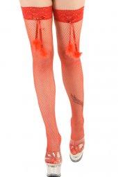 Kırmızı Aksesuarlı Jartiyer Çorap (Art 955)