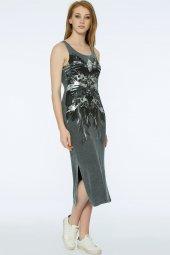 Barı Dress - Önü Dantel Detaylı Gri Elbise | 160009-1