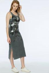 Barı Dress - Önü Dantel Detaylı Gri Elbise | 160009-1-2