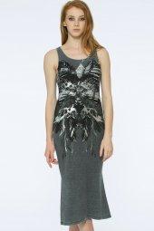 Barı Dress - Önü Dantel Detaylı Gri Elbise | 160009-1-3