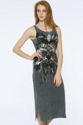 Barı Dress - Önü Dantel Detaylı Gri Elbise | 160009-1-4