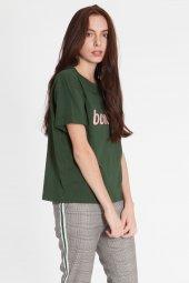 Piera - Pamuklı Baskılı Yeşil Tişört | 160293-6-2