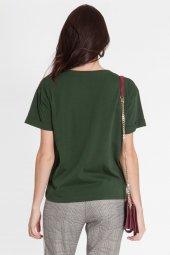 Piera - Pamuklı Baskılı Yeşil Tişört | 160293-6-4