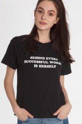 Piera Pamuklu Baskılı Siyah Tişört 160293 1