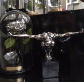 SadeHomeDecor lucky art gümüş renk sporcu biblo 36 cm (1 adet)-2