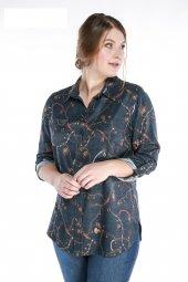 Sedna Cepli Robalı Desenli Büyük Beden Gömlek 5064 Lacivert