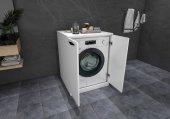 Mobaks Topkapı Çamaşır Makinesi Dolabı Alt Modül Parlak Beyaz