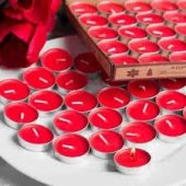 50 Adet T Light Mum Sevgili Mumu Kırmızı Beyaz