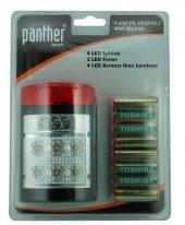 Panther 958 Pilli Mini Işıldak 6led Işıldak+3 Led Fener+4led İkaz