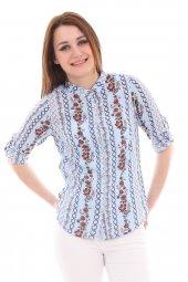 Hakim Yaka Desenli Saks Kadın Gömlek
