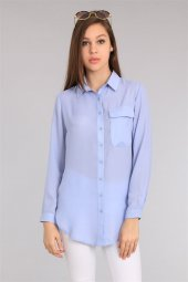 Cep Detaylı Mavi Kadın Gömlek
