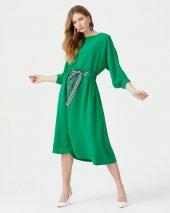Seçil Önden Bağcıklı Bayan Elbise 3543 Yeşil