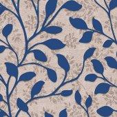 More 613217-4 Mavi Yaprak Desenli Duvar Kağıdı