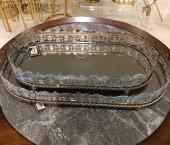 SadeHomeDecor luckyart bronz mavi işlemeli 50 cm 1 adet tepsi