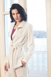 Kasha Kuplu Bayan Ceket Ve Çizgili Bayan Pantolon Takım 19yc013 19yp038 Beyaz