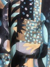 Vintage Desenli Mavi Pamuklu Gömlek XSG3150-4