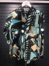 Vintage Desenli Mavi Pamuklu Gömlek XSG3150-5