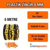 Plastik Zincir 8 Mm Sarı Siyah (5 Metre)