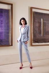 Kasha Klasik Fit Bayan Ceket Ve Klasik Bayan Havuç Pantolon 19yc016 19yp068 Mavi Taş