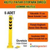 Kilitli Yatar Oto Park Direği 75 Cm (Gömme Kilitli) 5 Adet