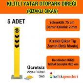 Kilitli Yatar Oto Park Direği 75 Cm (Kızaklı Çıkan) 5 Adet