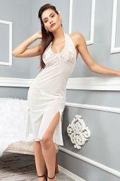 Mite Love Beyaz Dantelli Uzun Gecelik Transparan Tül-3