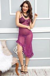 Mite Love Mor Kadın Gecelik Transparan Tül Fantazi Giyim