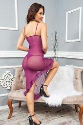Mite Love Mor Kadın Gecelik Transparan Tül Fantazi Giyim-2