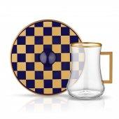 Koleksiyon Dervish Dama Kobalt Altın 6 Kişilik 12 Parça Kulplu Çay Takımı (41084)