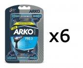 Arko Men Tıraş Bıçağı T3 Pro 3 Sistem 6 lı Blister - 3 Bıçaklı-2