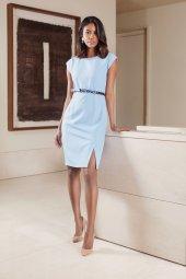 Kasha Düşük Kollu Klasik Bayan Elbise 19ye074 Mavi Taş