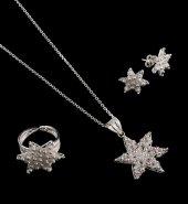 Bereket Modeli Yıldızlı Telkari Gümüş Set