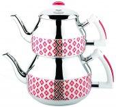 Özkent K-361 Hüma Mini Çaydanlık - Desenli Kırmızı