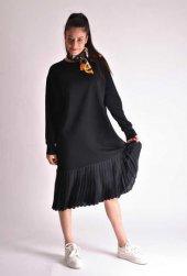 Piliseli Siyah Sweat Elbise