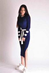 Lacivert Bağlama Detaylı Triko Elbise