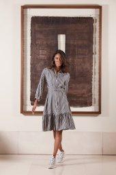 Kasha Varaklı Bayan Gömlek Elbise 19ye009 Gri