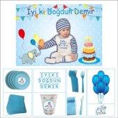 çocuk Doğum Günü 1 Yaş Özel Set Mavi Erkek 40 Kişilik