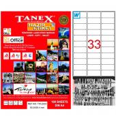 Tanex Lazer Etiket 100 Yp 63.5x25.4 Laser Copy...