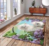 Veronya Mor Çiçek ve Kedi Desenli Kaymaz Taban Modern Halı