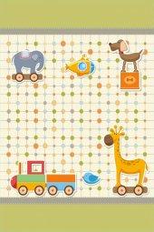 Veronya Hayvan ve Tren Desenli Kaymaz Taban Çocuk Halısı,046-2