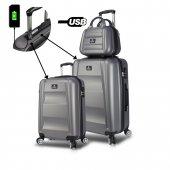 My Valice Smart Bag Exclusive Usb Şarj Girişli 3lü Valiz Seti (Kabin, Orta Ve Makyaj) Antrasit