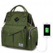 My Valice Smart Bag Happy Mom Usbli Anne Bebek Bakım ve Sırt Çantası Yeşil-2