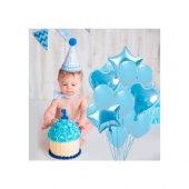 Happy Land Erkek Bebek Balon Seti Mavi 1 Yaş Fotoğraf Çekimi Süsl
